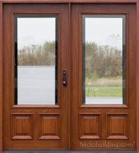Double Doors & 3/4 Arch Mahogany Prehung Double Wood Door ...
