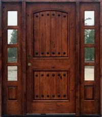 Exterior Knotty Alder Doors 2 Sidelights|SW62