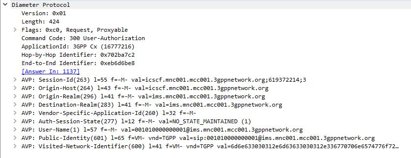Diameter-User-Authorization-Request-Command-Code-300-Packet-Capture