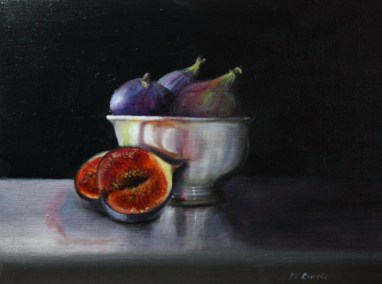 Figs in silver bowl