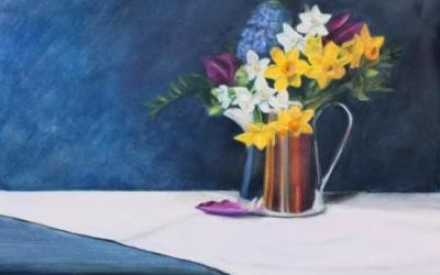 Spring Flowers in a Silver Jug
