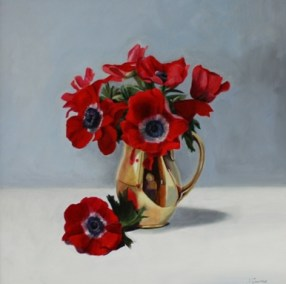 Red Anemones in a gold jug
