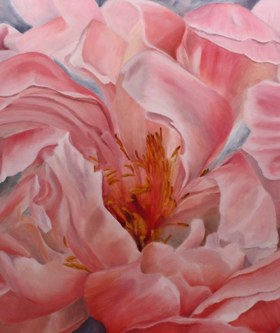 Dancing Peony in water Oil on gesso board 16 inches by 20 inches Unframed