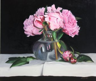 Oil painting; contemporary painting; peonies; still life; pink flowers; realistic