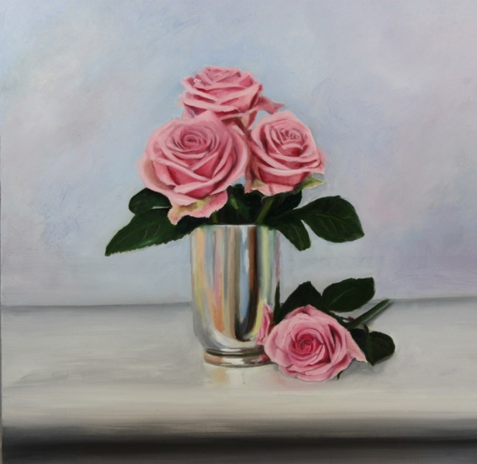 New painting: Pink Roses in a silver vase