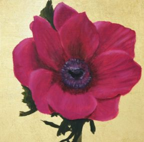 Magenta anemone on gold leaf