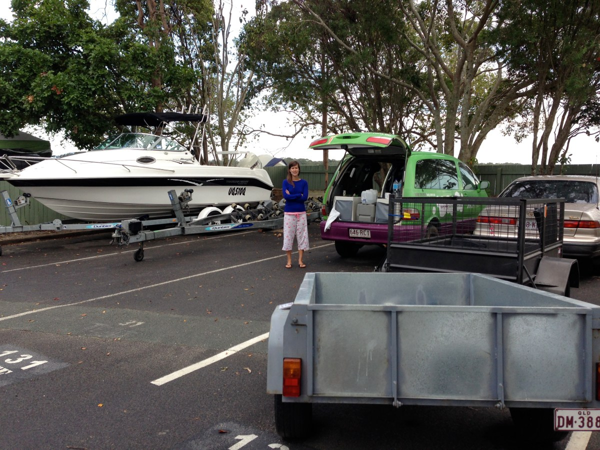 A shot of our campervan parked up in the overflow parking bays amongst cars and boats at Noosa River Holiday Park