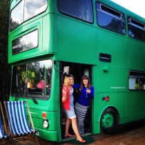 Posing outside the Big Green Bus