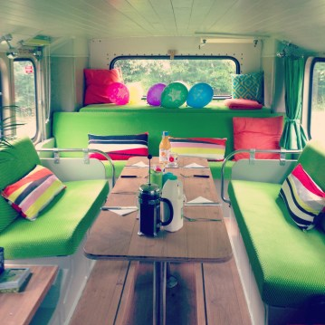 The interior of the Big Green Bus