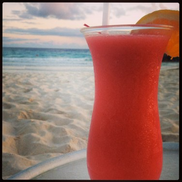Cocktails on the beach in Barbados