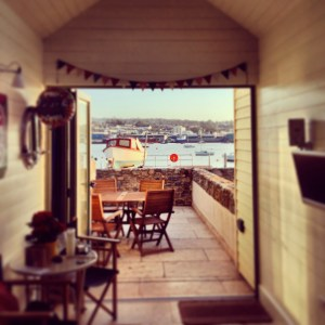 Looking out to sea from inside Shaldon Beach Hut number 1