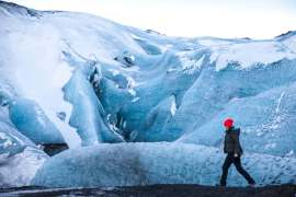 Exploring at Myrdalsjokull glacier