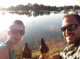 Matt an I having drinks by the river at Calypso Holiday Park, Yamba, Australia