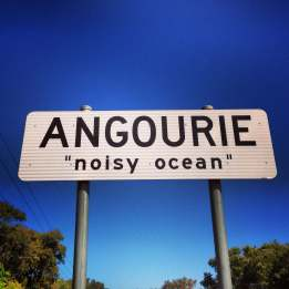 Angourie sign post in New South Wales, Australia
