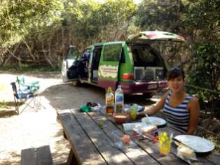 Having lunch by the campervan at Black Rocks Campground, Ten Mile Beach, Australia