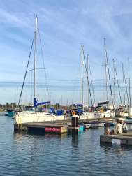 Boats moored on the quay in Lymington