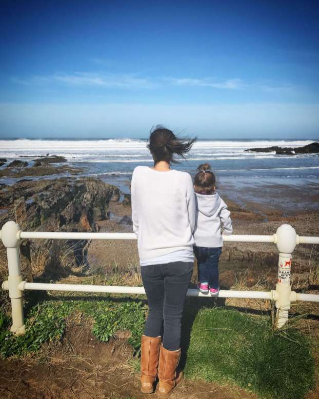 Looking out to see with Emily in Bude, Cornwall.