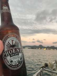 Phoenix beer and sunset in Mauritius.