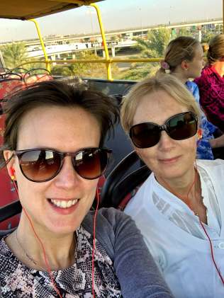 A selfie of my Mum and I on a bus tour in Dubai