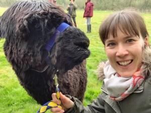 A selfie with alpaca Whisky Joe.