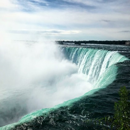 A view of Niagara Falls from the footpath that runs alongside it in Toronto.