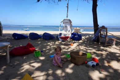 Emily on the beach in Sanur, Bali