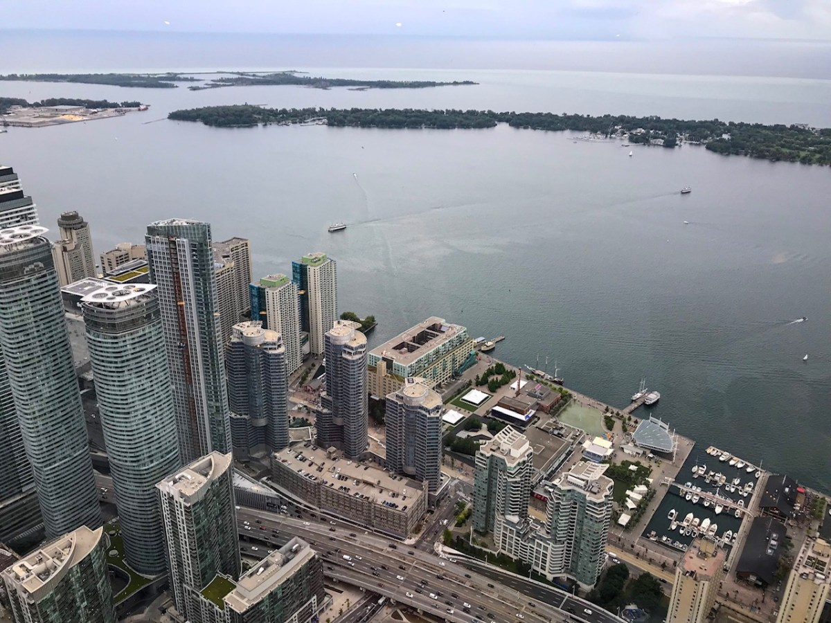 Looking at views of Toronto Island from the CN Tower.