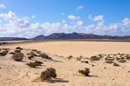 A wide shot overlooking Corralejo Natural Park, Fuerteventura