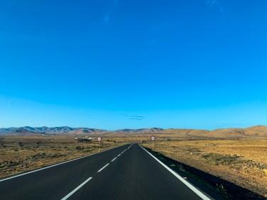 A shot of the road driving through La Oliva, Fuerteventura