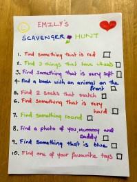 Indoor scavenger hunt list