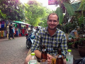 Having a beer on Soi Rambuttri in Bangkok