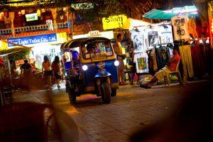 A tuk tuk on a street in Bangkok