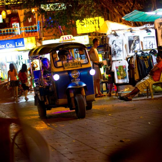 A tuk tuk on a street in Bangkok