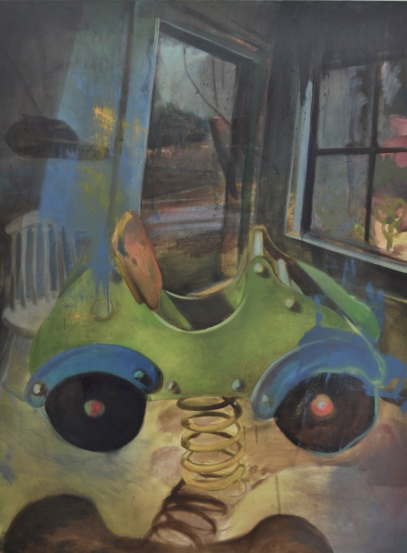 la voiture verte, nicolas marciano, huile sur toile, 146x 114