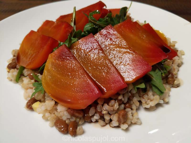Oil-free golden beets arugula salad on bed of natto rice and ginger