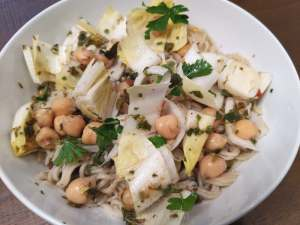 Endive garbanzo bean and rice noodle salad in oil-free chimichurri