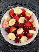 Beet, strawberry and banana fruit salad