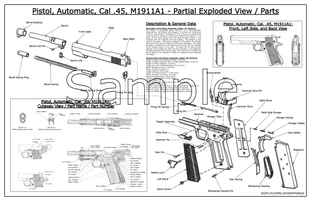 M1911, Revolver, Blueprints, Posters, Mouse Pads, Coffee Mugs