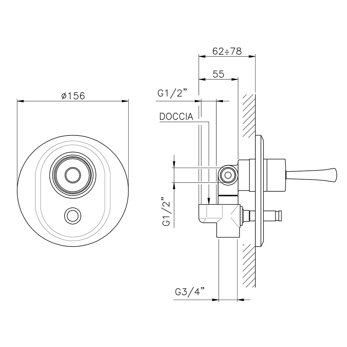 hight resolution of single lever for built in shower with diverter