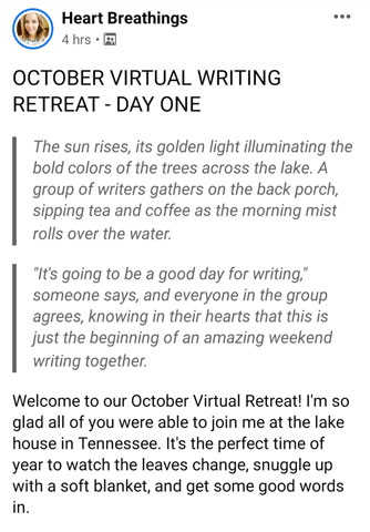 My First Time at a Heart Breathings' Virtual Writing Retreat - Day One