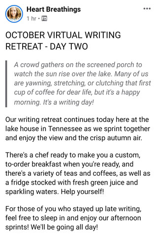 My First Time at a Heart Breathings' Virtual Writing Retreat - Day Two