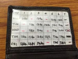 An Indian teachers' schedule kept in his wallet.