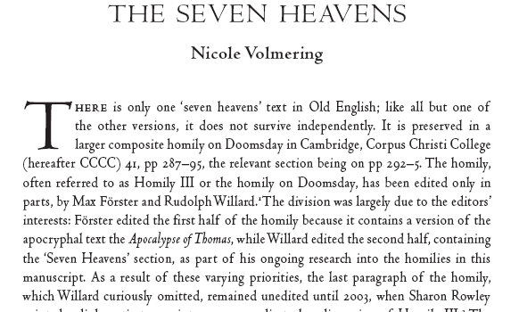 The Old English Account of the Seven Heavens (text and translation)