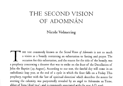The Second Vision of Adomnán (text and translation)