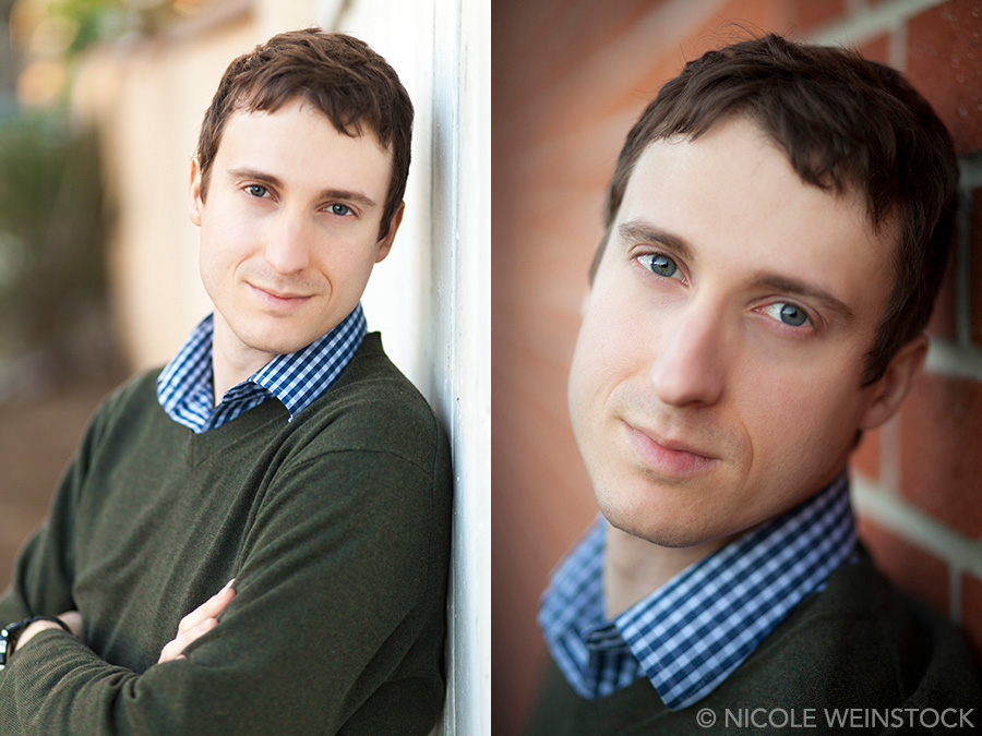 Two side-by-side vertical portraits with Jean-Rene leaning against a fence and a brick wall, arms crossed on left and a closer crop on his face on right