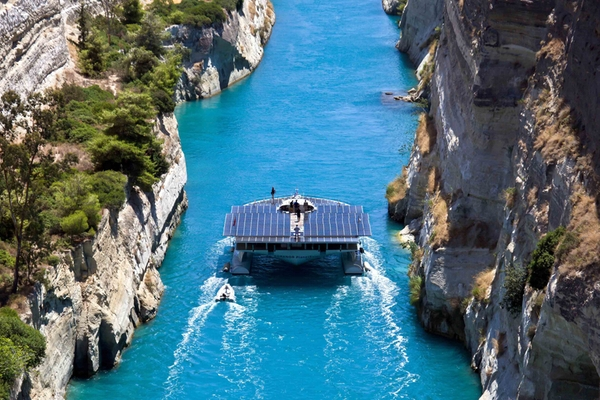 Planet Solar at the Corinth Canal