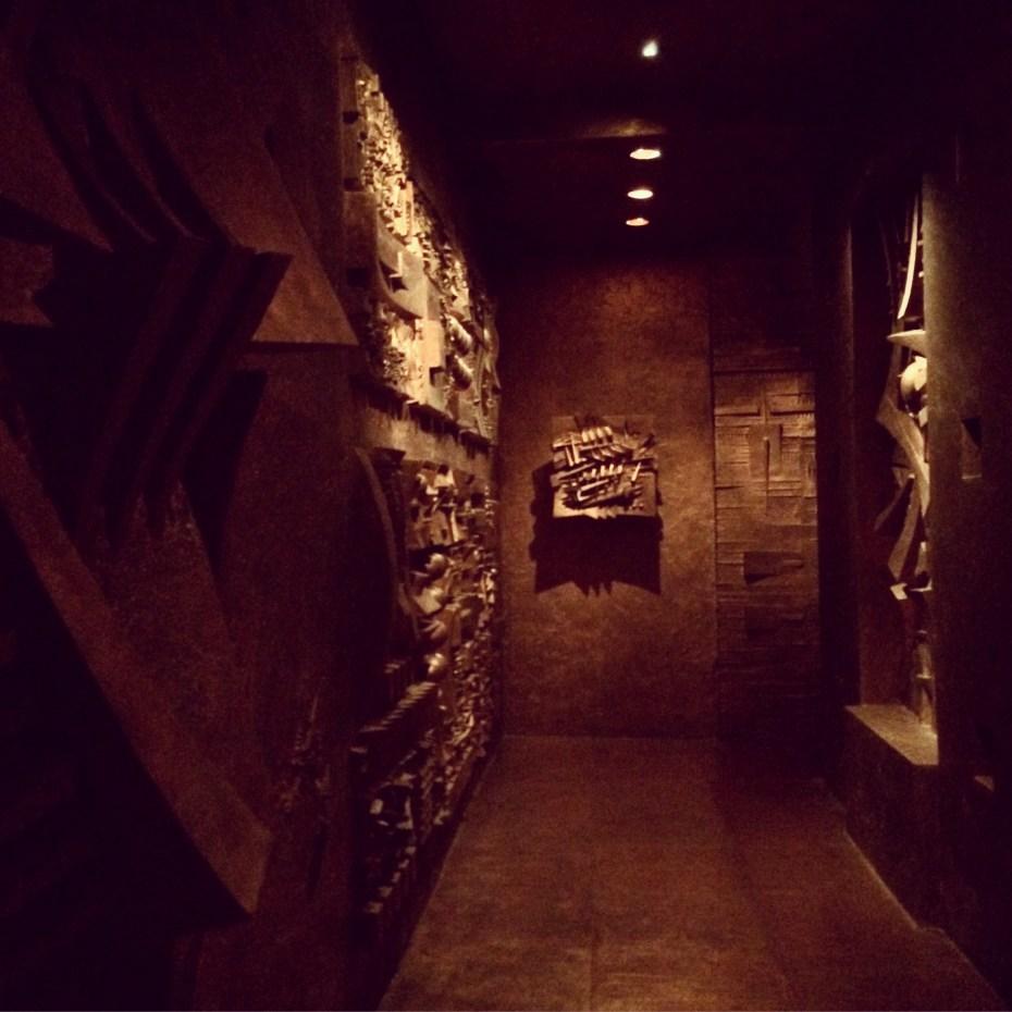 One of the corridors inside Arnaldo Pomodoro's labyrinth.