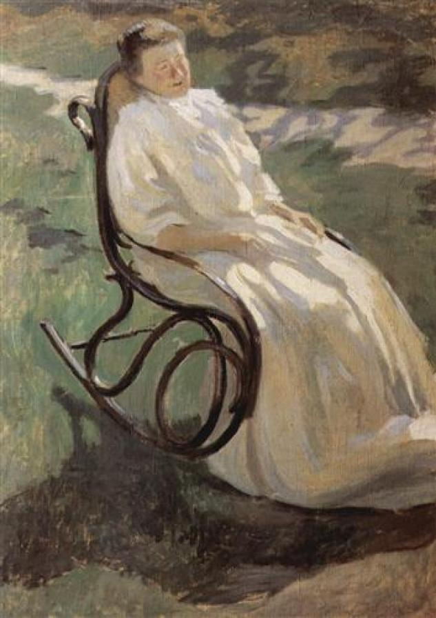 post impressionist rendition of a woman in a rocking chair