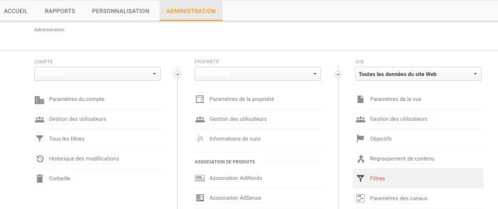 creation filtre anti spam analytics