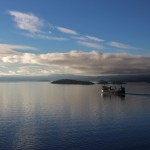 Norwegen Fjord mit Schiff